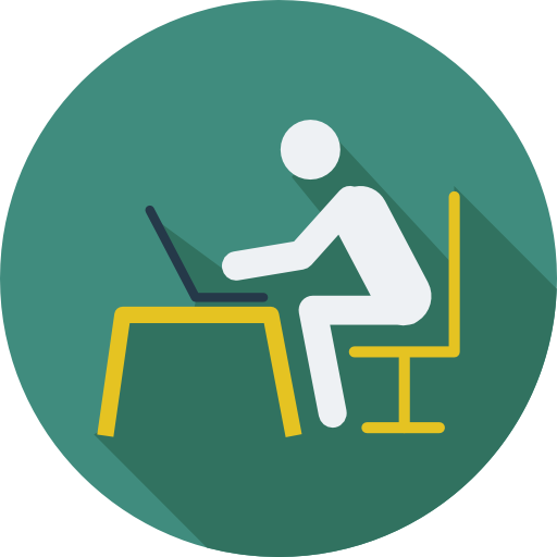 Person sitting at desk top computer icon